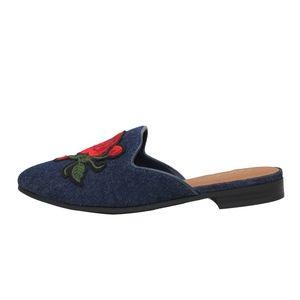 ee63cf2af25 Shoes - Blue Rose Embroidery Backless Slip On Loafer Mule